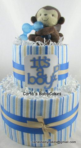 Boy diaper cake | Monkey diaper cake | Blue diaper cake | Baby shower decoration…
