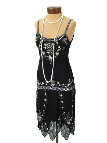 Roaring 20s Style Beaded Black Dropped Waist Dress