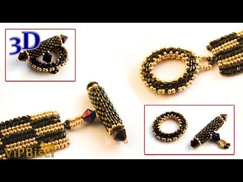 Peyote Beaded Toggle Clasp. 3D Beading Tutorial - YouTube