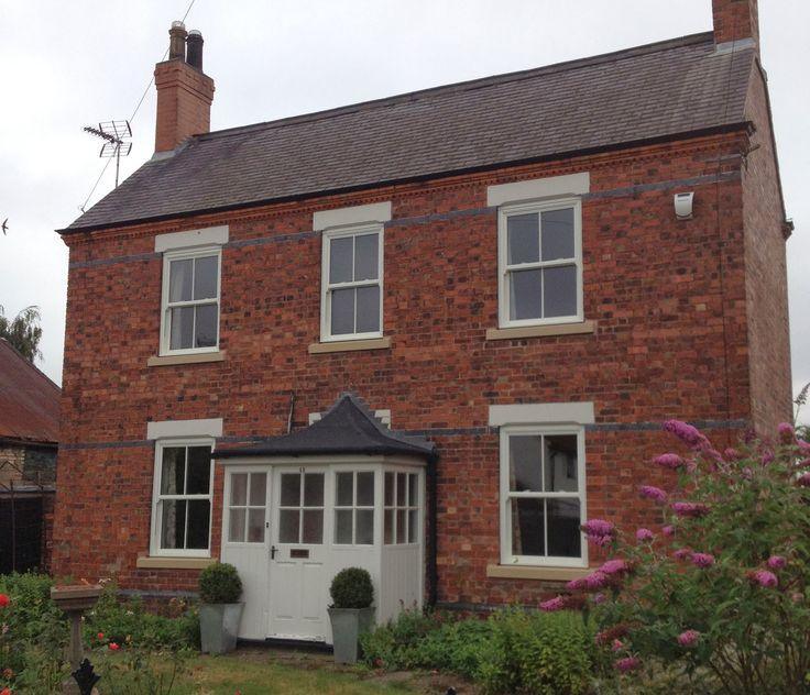 Find House: Cream Windows On Red Brick House Ireland