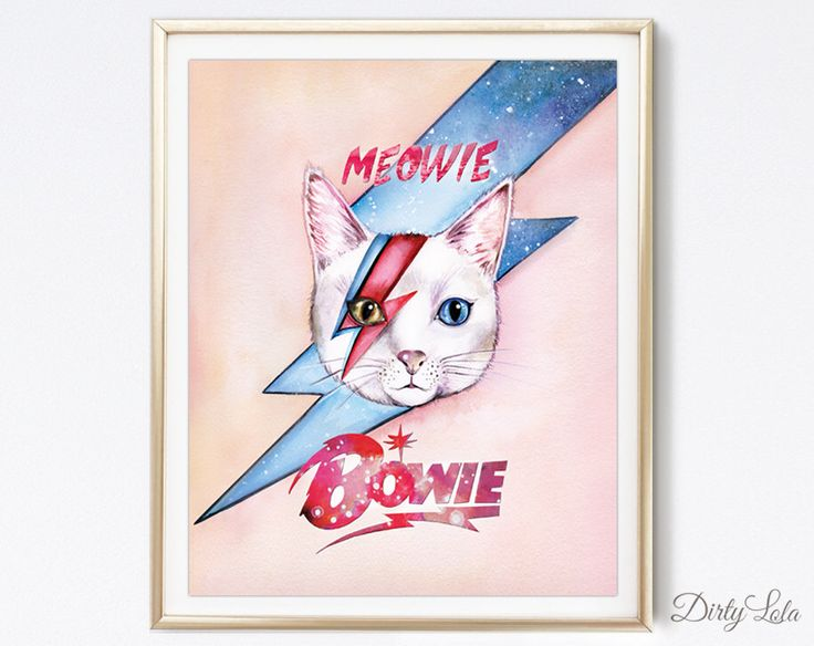 Kat schilderij - Meowie Bowie - kat portret - illustratie - Cat Art - kattenliefhebbers - aquarel door DirtyLola op Etsy https://www.etsy.com/nl/listing/223818738/kat-schilderij-meowie-bowie-kat-portret