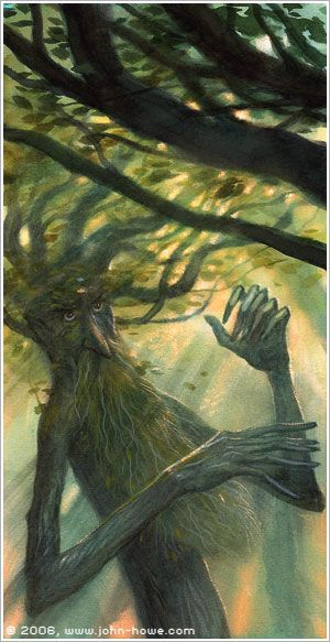 "Quickbeam gave a cry ""The tree-killer, the tree-killer!"" Quickbeam is a gentle creature, but he hates Saruman all the more fiercely for that: his people suffered cruelly from orc-axes"