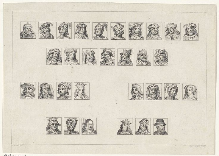 Reinier Vinkeles | Graven en gravinnen van Holland, Reinier Vinkeles, 1751 - 1816 | Eenendertig graven en gravinnen van Holland.