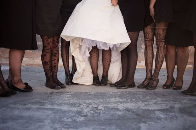 Not black, but if we go for plain bridesmaid dresses, these type of tights are cool