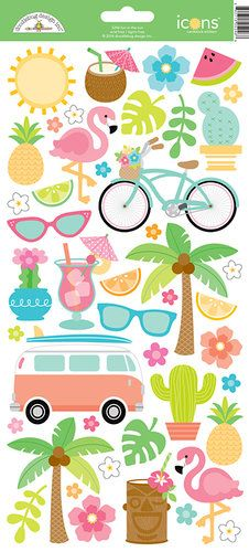 Doodlebug Design - Fun in the Sun Collection - Cardstock Stickers - Icons