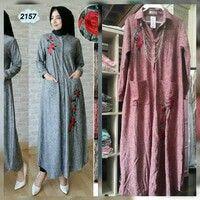 Baju muslim tipe 2157  Bahan kaos lycra embroidery Pjg 135 LD 104  Warna : maroon Rp. 143 rb