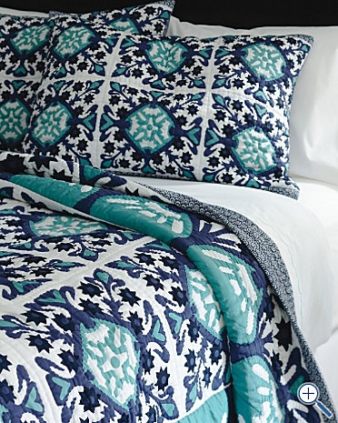 Turquoise and navy quilt from garnet hill