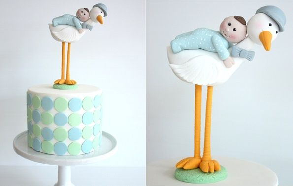 Stork cake topper for baby cake by Stylishly Sweet, AU.