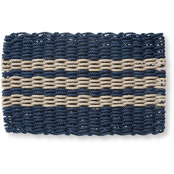 L.L.Bean Nautical Rope Doormat, Triple Stripe ($49) ❤ liked on Polyvore featuring home, outdoors, outdoor decor, outdoor welcome mats, woven mat, nautical garden decor, nautical door mats and rope mat