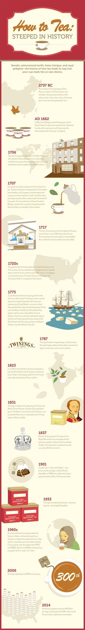 Tea history according to Twinings...Revolts, astronomical tariffs, Asian intrigue, and royal pedigree—the history of how tea made its way into your cup reads like an epic drama.