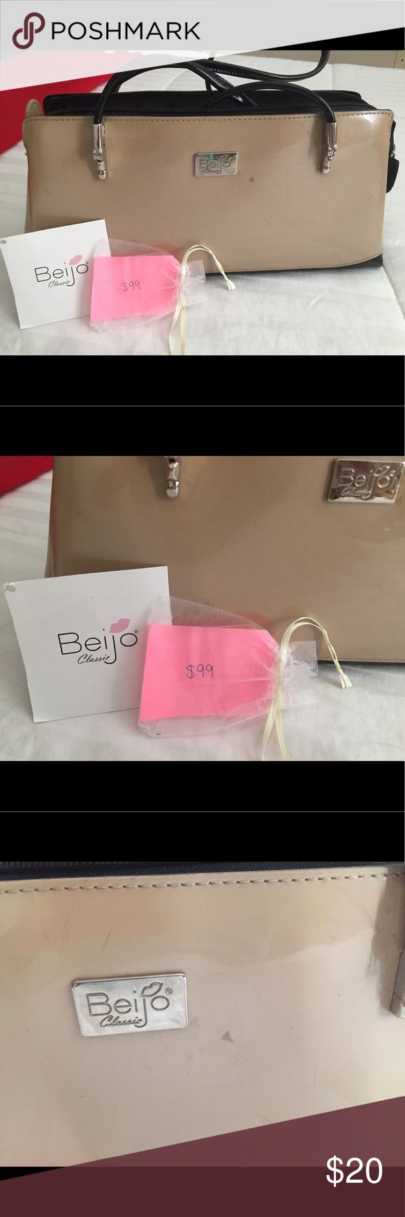 Beautiful Bag!!! Beijo Bag classic! Brown and Tan patent leather bag. Some scuffs, but nothing major! Beijo Bags Satchels