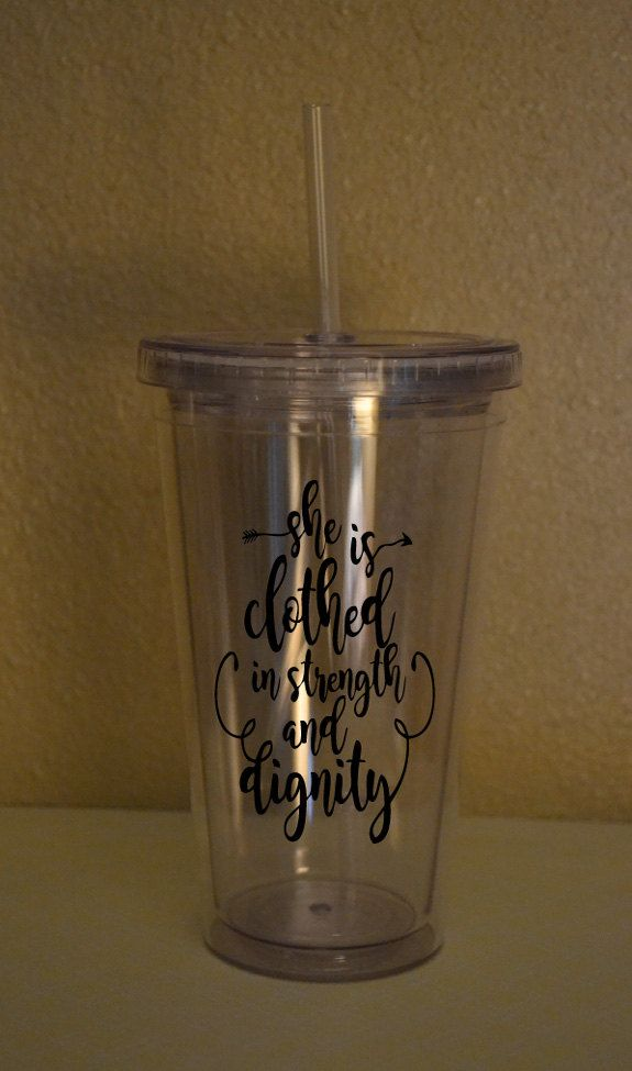 She is clothed in Dignity 16oz. Tumbler by ElsiDesign on Etsy