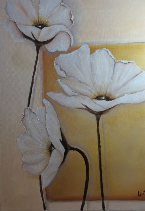 """White Poppies"" original oil on canvass by Lucille Otto"