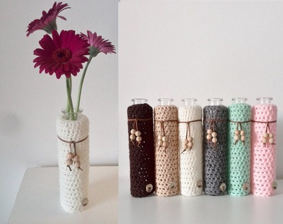 vase with crochet cover and wooden beads by WoodWoolDesign on Etsy