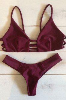 Solid Color Spaghetti Strap Lace Up Bikini Set