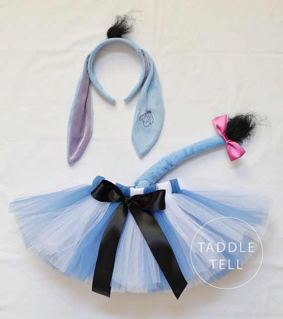 Eeyore Inspired Halloween Costume Tutu Includes by taddletellshop