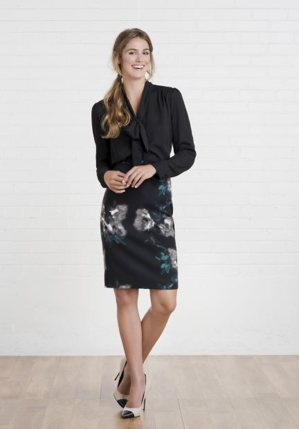 Floral skirt with tie front blouse