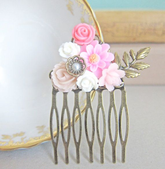 Pink Wedding Hair Comb Blush Pastel Pink Bridal by Jewelsalem, $13.50