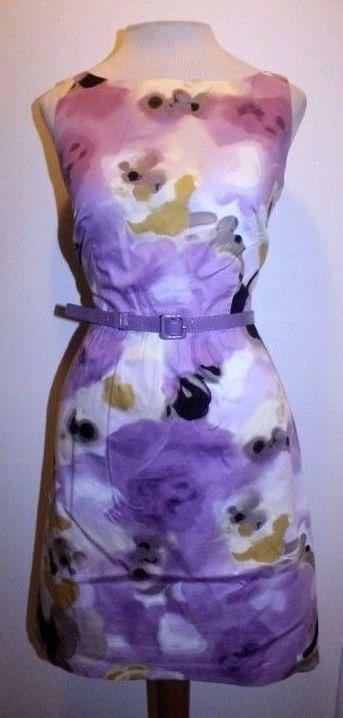 Ann Taylor Petites Dress 6P Purple Olive Floral Belted Waist Career Sheath Dress #AnnTaylorPetites #Sheath #Career