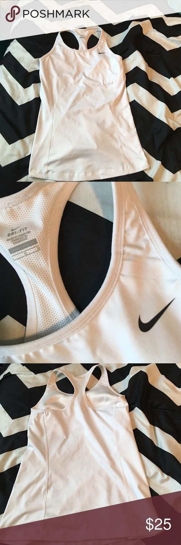 Nike top Dri fit material with built in bra perfect condition! Please make offers Nike Tops Muscle Tees