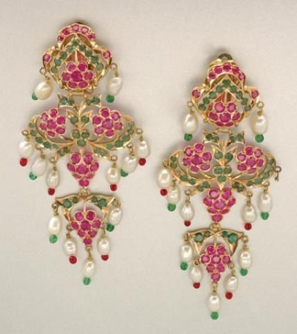 Pair of Gold, Ruby, Emerald, Biwa Pearl and Glass Bead Pendant Earclips for Sale at Auction on Wed, 04/12/2006 - 07:00 - Important Estate Jewelry | Doyle Auction House