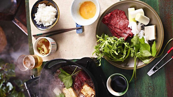 Sukiyaki   This classic Japanese recipe is a great meal for the family served with miso soup and rice to accompany the sukiyaki. It is quick to prepare and healthy too.
