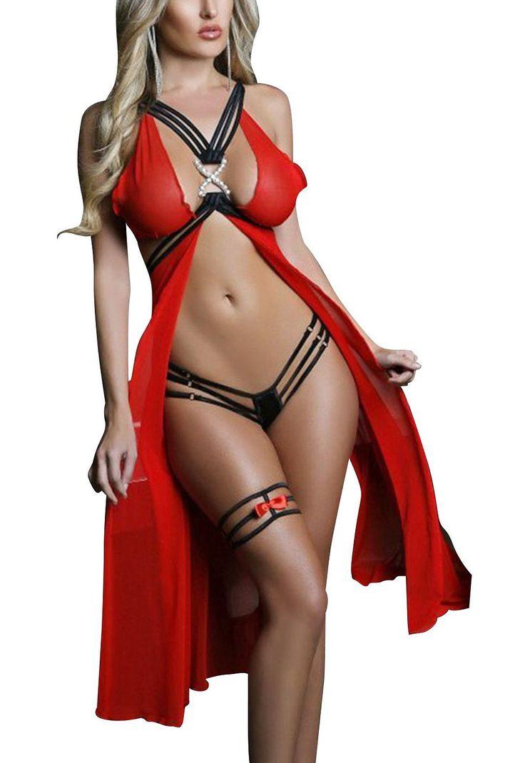 Amazon.com: Z-LMDS Hotties Women's Sky Blue Strappy Mesh Hot Nightdress Red: Clothing
