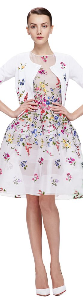 Spring Fashion 2015   Feminine white dress and sweater, embroidered with vibrant flowers. Love this dress but I'd add either a lining or a slip to the dress.