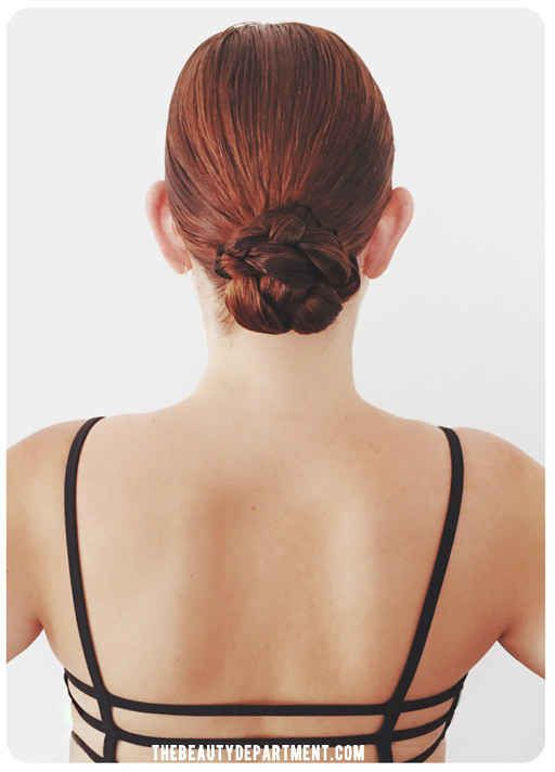 This easy braided bun is perfect for wet or dry hair.