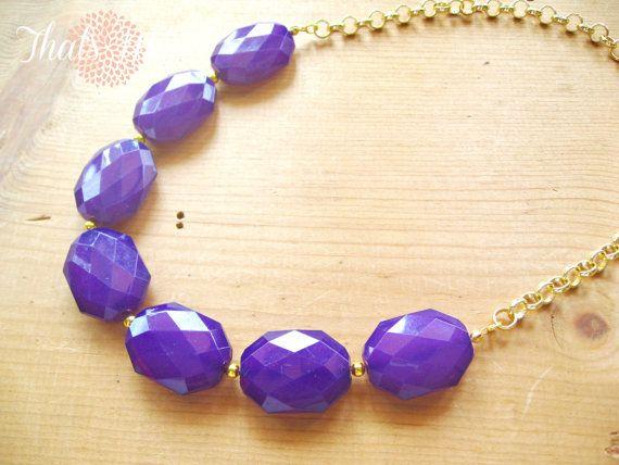 Purple statement necklace eggplant purple by ThatsmineBoutique, $32.00