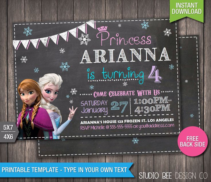 Frozen Birthday Invitation - INSTANT DOWNLOAD - Printable Disney Frozen Chalkboard Birthday Invite - DIY Personalize & Print - fr594 by StudioBeeDesignCo on Etsy https://www.etsy.com/listing/233495341/frozen-birthday-invitation-instant