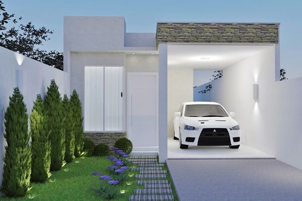 Planta de casa t?rrea com telhado embutido - Projetos de Casas ...