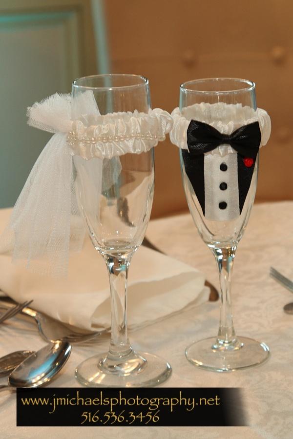 Bride/groom champagne glasses