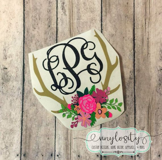 Buy yours today!  Great quality and prices! Floral Antler Decal  Antler Monogram Car Decal  by VinylosityCo