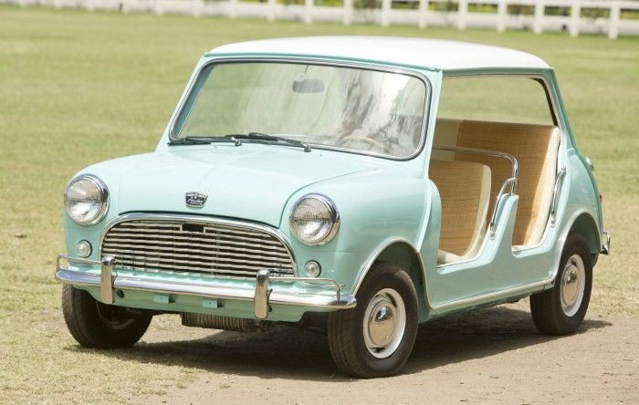 Photos courtesy Bonhams. Even the littlest of cars got in on the record-setting action this past weekend at the Monterey auctions, where a doorless Mini beach c