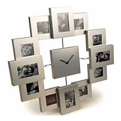 Metallic wall clock with photo frames.
