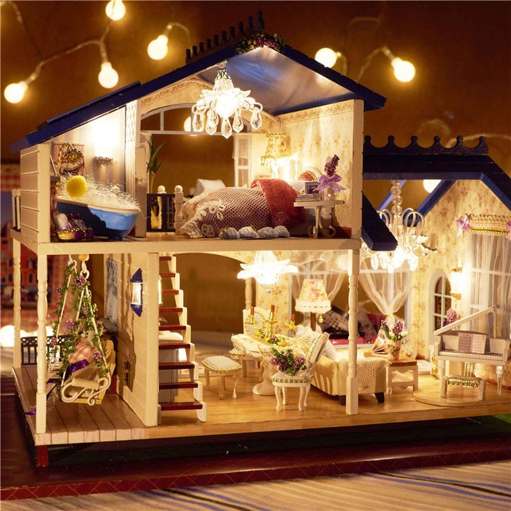 New Kits DIY Wooden Dollhouse Miniature Doll House+Cover+Music Paris Coffee  Shop | Wooden Dollhouse, Doll Houses And Miniatures
