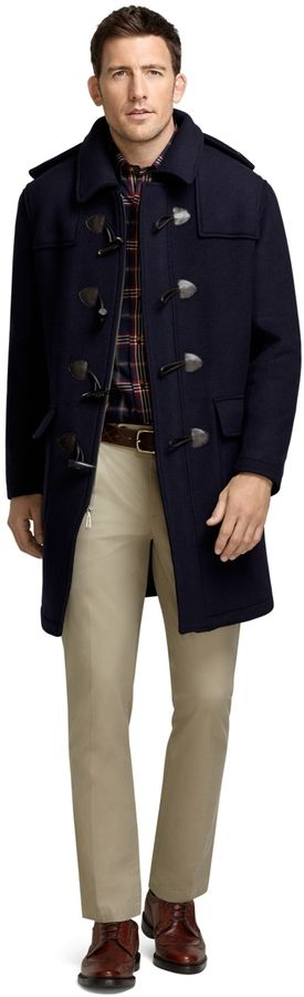 $523, Navy Duffle Coat: Brooks Brothers Duffle Coat. Sold by Brooks Brothers. Click for more info: https://lookastic.com/men/shop_items/592/redirect                                                                                                                                                                                 More