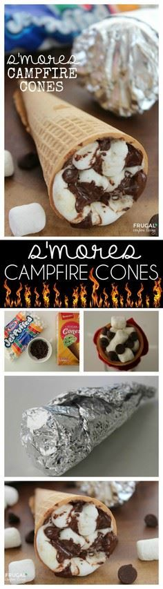 S'mores Campfire Cones | Fill with - 55 Camping Dessert Recipes - RecipePin.com