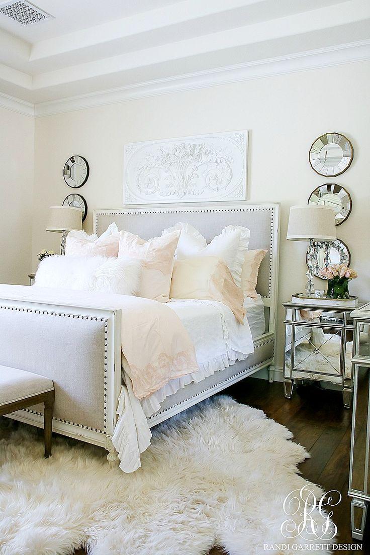 White master bedroom with gorgeous cream bedding. Favorite Posts 2017 + Happy New Year - Randi Garrett Design