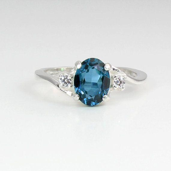 Londra naturale topazio blu & zaffiri anello argento / pietre