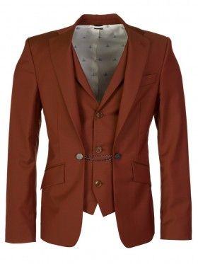 Vivienne Westwood Rust Stitched Waistcoat Suit Jacket
