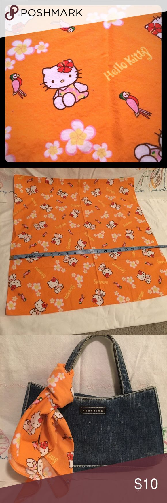 """Hello Kitty bandana tropical 20""""x20.5"""" cotton Unique bandana Hello Kitty tropical print. Features Hello Kitty, Parrot, flowers, print reading """"Hello Kitty"""" Size 20""""x20.5"""". Cute to wear or dress up a boring dresser/nightstand. Hello Kitty Accessories Hair Accessories"""