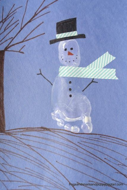 Footprint Snowman Craft for Kids by FSPDT - is this not the cutest snowman ever!