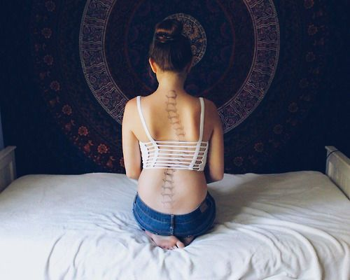 28 Sassy Tattoo Designs for the Spine...Creative! I have scoliosis too but not that bad.