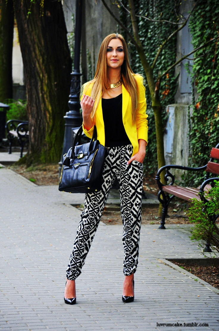 yellow blazer + printed pants