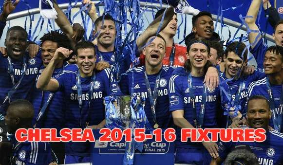 Full List of CHELSEA fixtures for the PREMIER LEAGUE 2015-2016