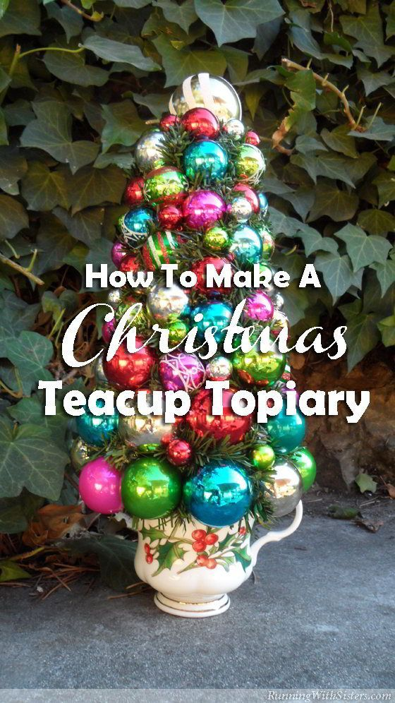 Make a Christmas teacup topiary! So shiny and bright! Start with a vintage teacup and Shiny Brite ornaments collected from the flea market!