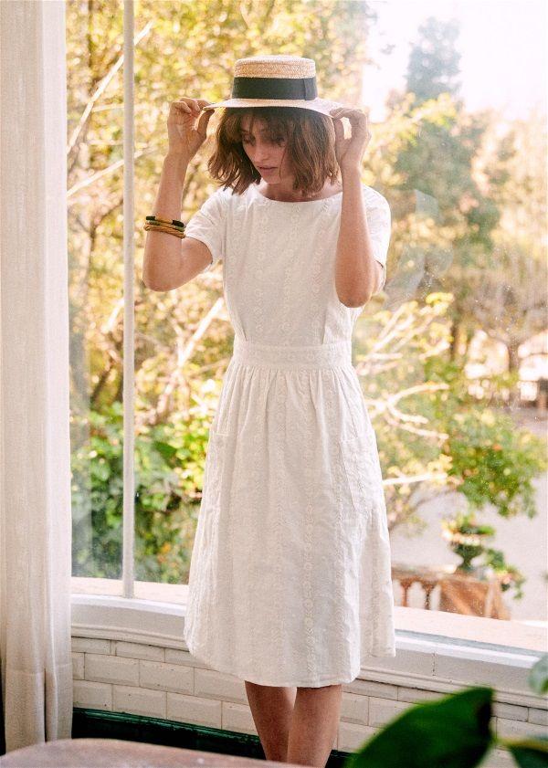 Sezane Odalie Dress Dresses White Dress Midi Length Dress