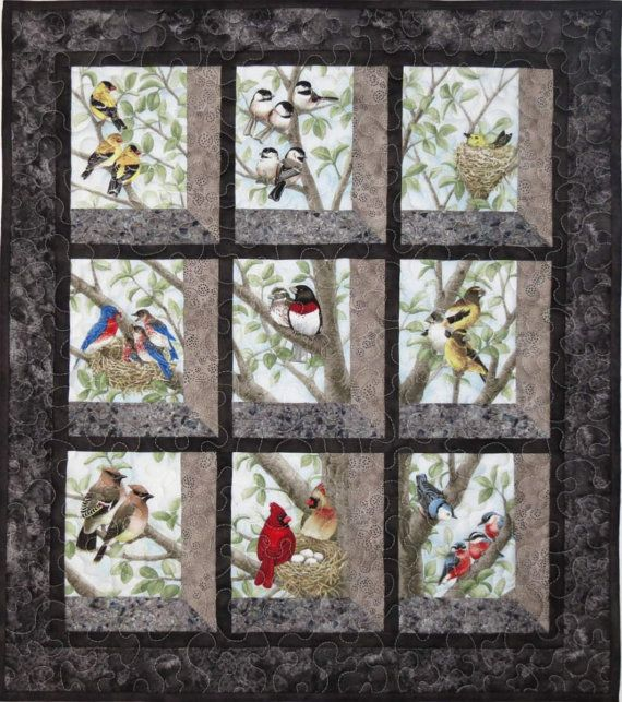 Quilted And Pieced Wall Hanging Attic Window Birds In